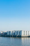 An oil terminal to store crude oil and petrol. An oil terminal in the harbor Stock Photo