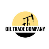 Oil trade company flat logo. Oil company flat logo. Oil, sun, earth Stock Photography