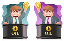 Oil trader holds a dollar symbol and  a euro symbol. Cartoon styled vector illustration. Elements is grouped. No transparent objects Stock Image
