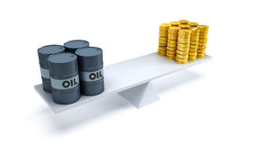 Oil trading concept. Black oil barrels and money counterbalance each other on the scales Royalty Free Stock Photo