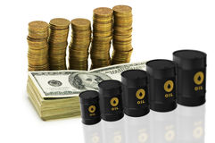 The oil trading concept with money and oil barrels Royalty Free Stock Photography