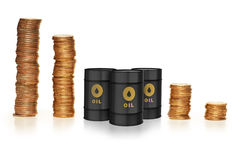 The oil trading concept with money and oil barrels Stock Photo