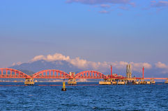 Oil Transfer Pipe Line On Sea Under Sunset Light Stock Image