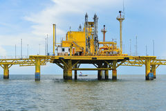 Oil transfer platforms Royalty Free Stock Images