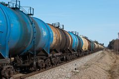 Oil transport. The train transports tanks with oil and fuel Royalty Free Stock Photo
