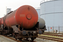 Oil transport. Oil train waggons on a oil refinery Royalty Free Stock Photos