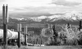 Oil Transport Alaska Pipeline Cuts Across Rugged Mountain Landsc. The large diameter pipe that cuts across the mountainous Alaska Landscape stock photo