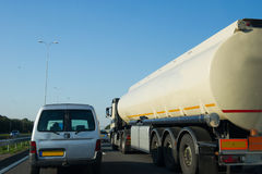 Oil transport at highway Royalty Free Stock Images