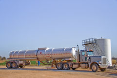 Oil Transport Truck-6966. Oil Transportation Truck delivering oil to a distribution point for storage for oil until it is sold to a refinery and then the truck Stock Photography