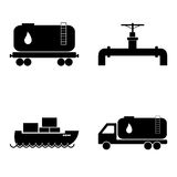 Oil transportation icons set. Petroleum and gas industry. Vector. Oil transportation icons set. Petroleum and gas industry. Tank truck. Pipe. Railroad tank Stock Photo