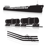 Oil transportation: marine tanker, rail tanker, pipelines Royalty Free Stock Photos