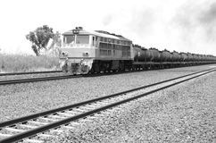 Oil transportation with the old train in Thailand Royalty Free Stock Photos