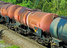 Oil transportation railway carriages Stock Photos
