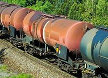 Oil transportation railway carriages Stock Photos