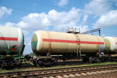 Oil transportation in tanks by rail Stock Photo