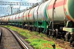 Oil transportation in tanks by rail Royalty Free Stock Photography
