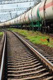 Oil transportation in tanks by rail Stock Photos