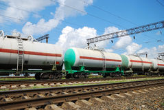 Oil transportation in tanks by rail Royalty Free Stock Photos