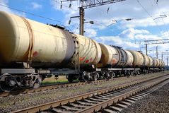 Oil transportation in tanks by rail Stock Photography