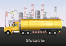 Oil Transportation Yellow Truck Realistic Composition. Yellow heavy truck with tank for oil transportation on background with refining factory realistic Royalty Free Stock Photo
