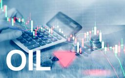 Oil trend down. Candle graph chart Oil barrels and a financial chart on abstract business background. Price oil down. Barrel arrow down stock images