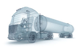 Oil truck with cargo container, wire model Royalty Free Stock Photos