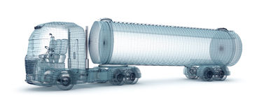 Oil truck with cargo container, wire model Royalty Free Stock Photography