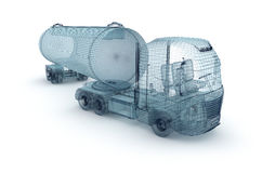 Oil truck with cargo container, wire model. Stock Image