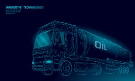 Oil truck highway cistern 3D render low poly. Fuel petroleum finance industry diesel tank. Cylinder vehicle big cargo. Gasoline logistic economical business stock illustration