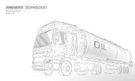 Oil truck highway cistern 3D render low poly. Fuel petroleum finance industry diesel tank. Cylinder vehicle big cargo. Gasoline logistic economical business royalty free illustration