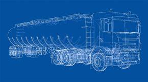 Oil truck sketch illustration royalty free illustration