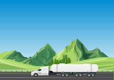 Oil truck tanker driving on the highway stock illustration