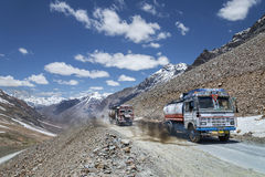 Oil trucks in mountains royalty free stock photography
