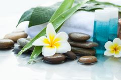 Oil tube for body. Body care and spa concept with flower stock image
