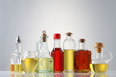 Oil. Various types of oil in bottles Stock Photography
