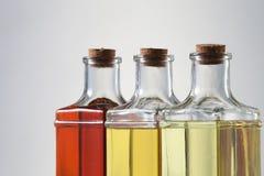 Oil. Various types of oil in bottles Stock Images