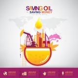 Oil Vector Concept Saving Oil Saving Money Royalty Free Stock Image