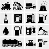 Oil vector icons set on gray. Stock Image