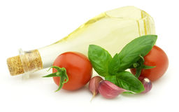 Oil with vegetables stock photography