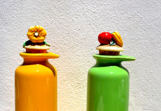Oil and vinegar. Noil and vinegar containers with original form and artistic Royalty Free Stock Photo
