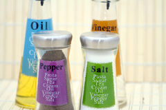 Oil, Vinegar, Salt & Pepper  Royalty Free Stock Photo