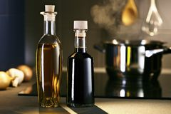 Oil and vingar in kitchen Royalty Free Stock Photo