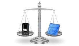 Oil vs Solar Panels Stock Image