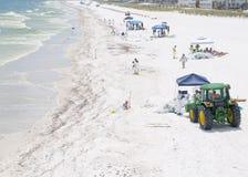 Oil washes ashore in Pensacola Beach Royalty Free Stock Photo