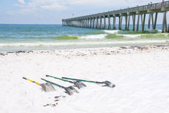 Oil washes ashore in Pensacola Beach Royalty Free Stock Photography