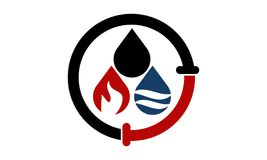 Oil Water Gas Pipe Solutions. Logo Design Template Vector Royalty Free Stock Image