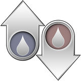 Oil or Water Icon on up and down arrows. Up and down arrows with oil or water drop icon to indicate price, supply, friction, quantity Royalty Free Stock Photography