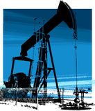 Oil Well 1. Oil Well high contrast illustration in blue vector illustration