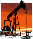 Oil Well 2. Oil Well high contrast illustration in orange royalty free illustration