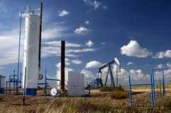 Oil well 23. Oil well and storage tanks in the Texas Panhandle royalty free stock photos
